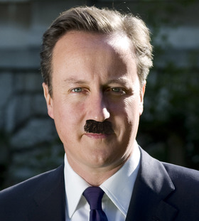 Hitler's moustache with David Cameron's face in the background