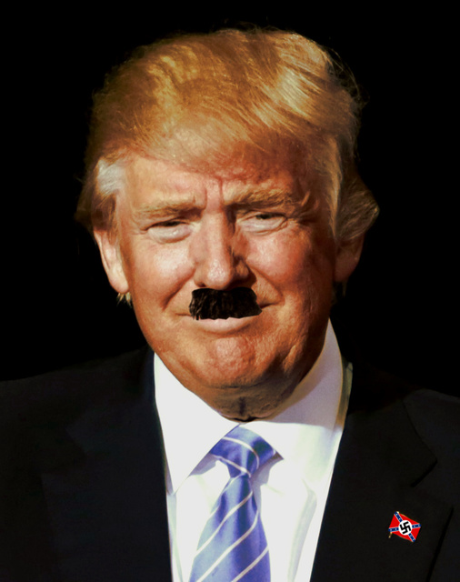 Donald Trump with Hitler's mustache