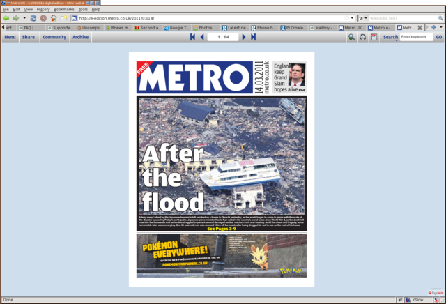 Metro couverture - 14/03/2011
