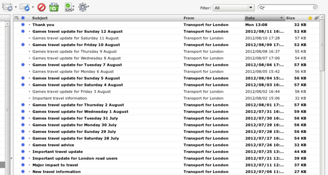 Inbox - TFL folder during the London Olymics