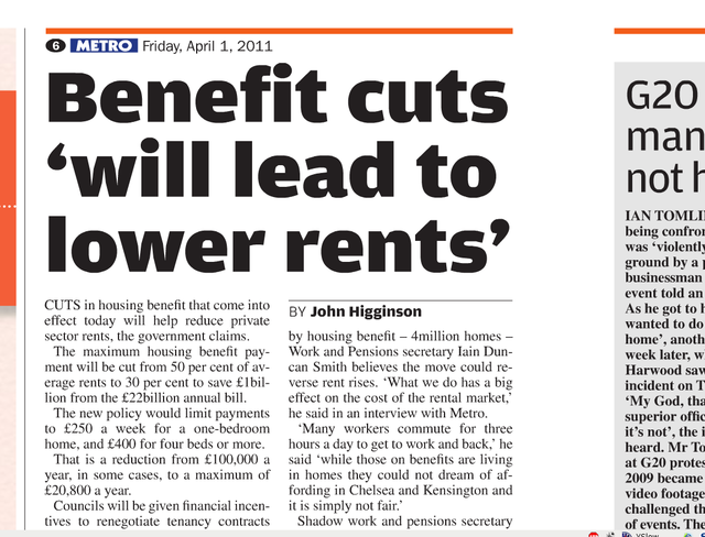 Benefit cuts will lead to lower rents