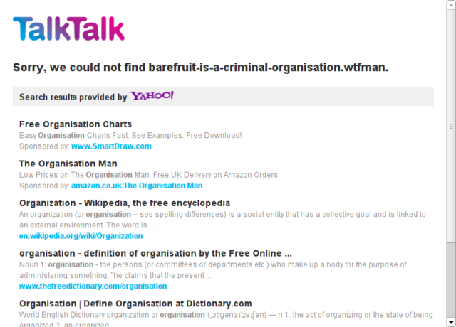 TalkTalk and Barefruit hijacking DNS