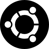 Ubuntu logo in black and white